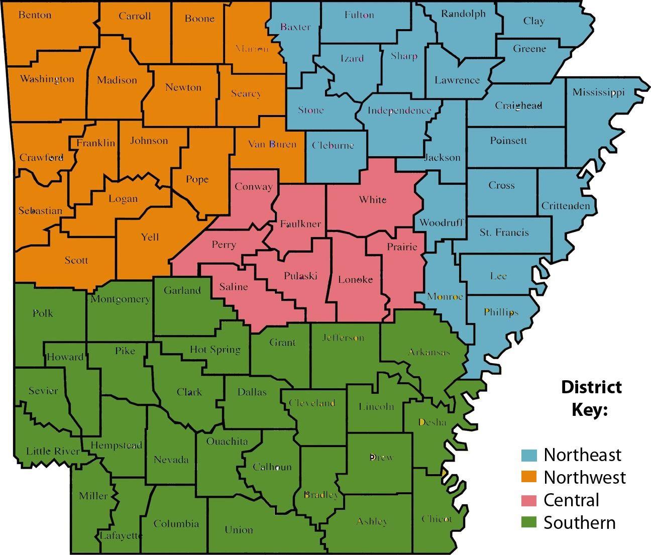 Arkansas Museums Association - AMA District Map